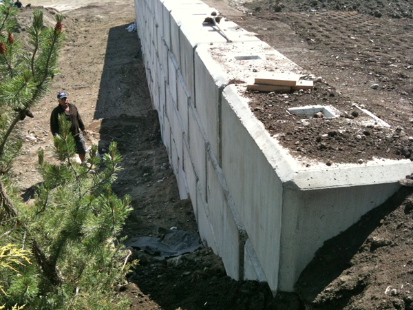 Large Concrete Block Retaining Wall Mellor Road Summerland Bc