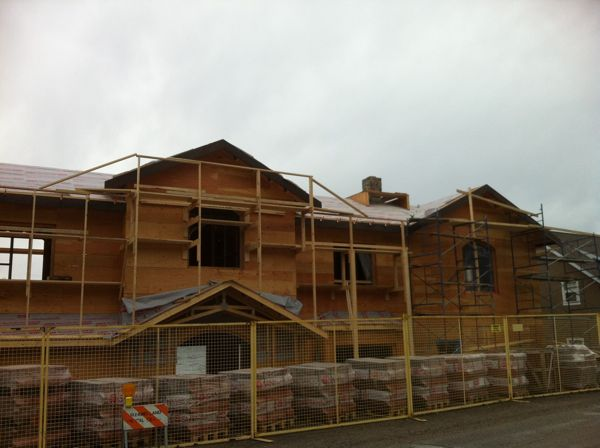 Exterior Wood Scaffolding For Roofers and Stucco