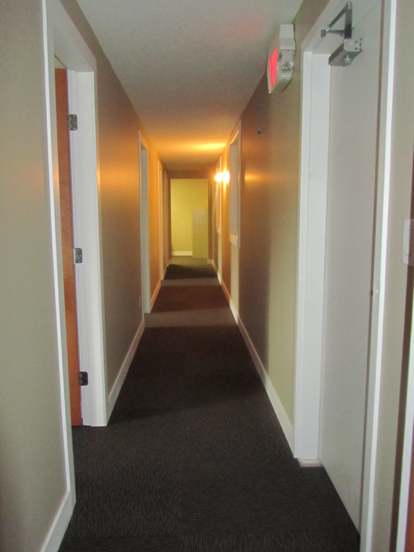 Hallway to offices in Summerland Industrial building