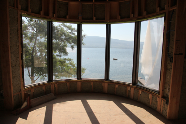bay window view of lake  summerland lakeshore home