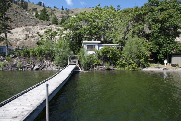 view from the lake of cabin at north beach summerland